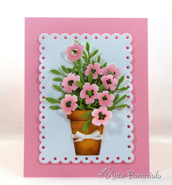 Come see how I made this pretty die cut pot of flowers.