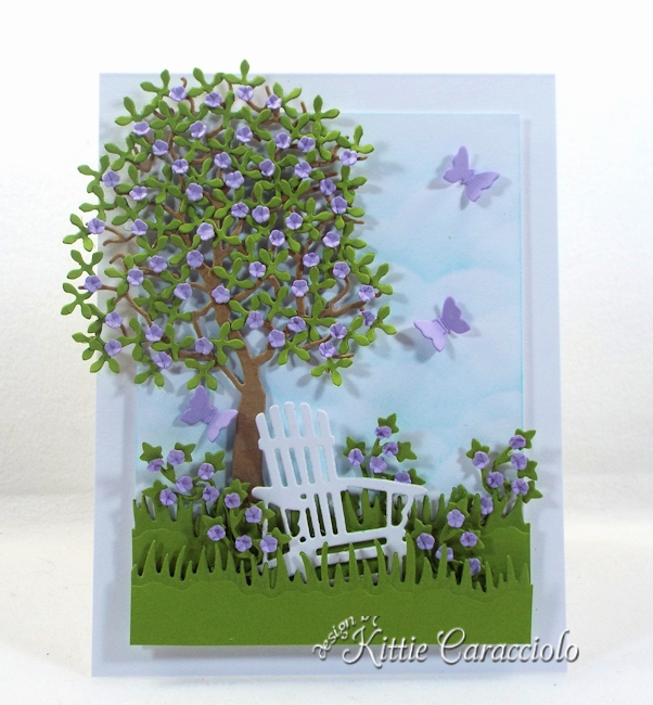 Come see how I made this pretty die cut tree and chair scene.