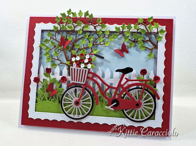 Come see how I made this die cut bicycle scene.