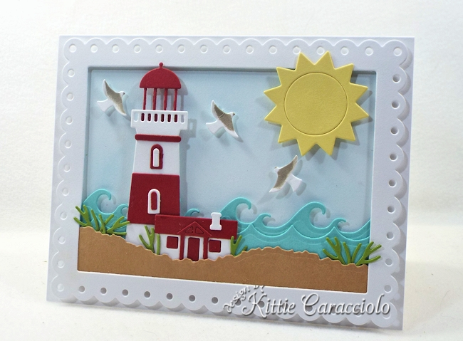 Come see how I made this die cut lighthouse scene