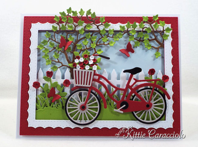Come see how I made this summer die cut bicycle scene.