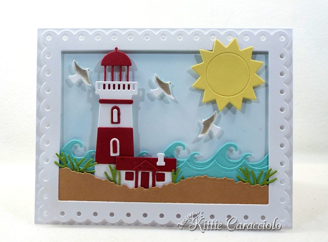 Come see how I made this sunny die cut lighthouse scene