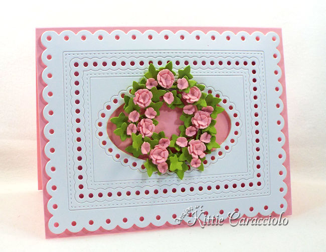 Come check out how I made this lovely die cut framed floral wreath.