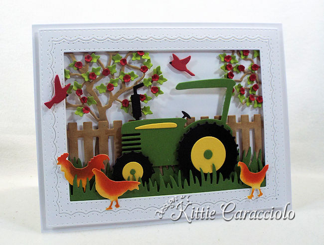 Come see how I made this bright die cut tractor scene.