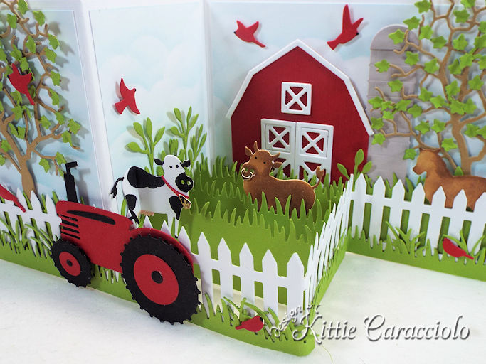 Come see how I made this colorful die cut barnyard z fold card.