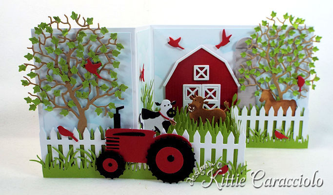 Come see how I made this die cut barnyard z fold card.