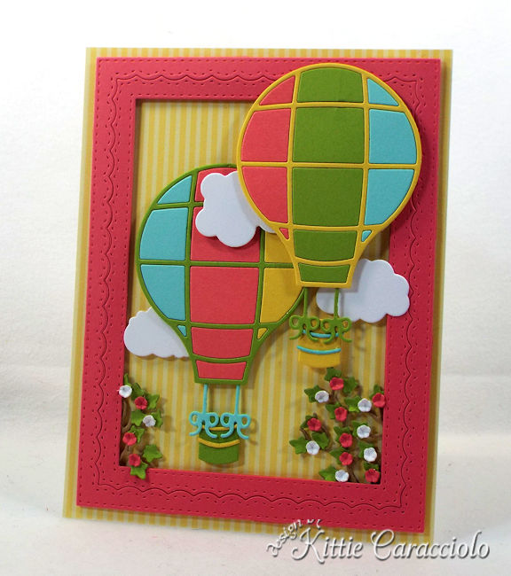 Come see how I made this die cut hot air balloon scene card.