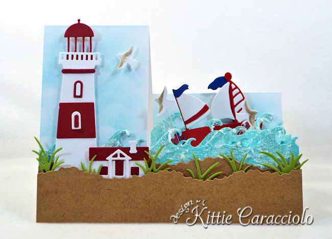 Come see how I made this die cut lighthouse step card.