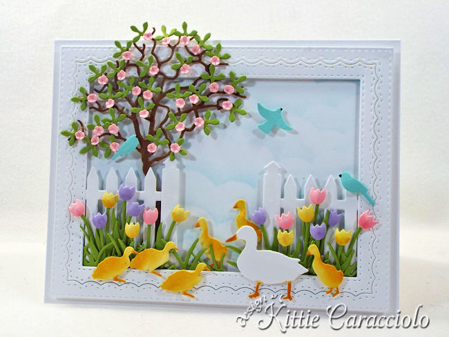 Come see how I made this die cut spring duck scene.