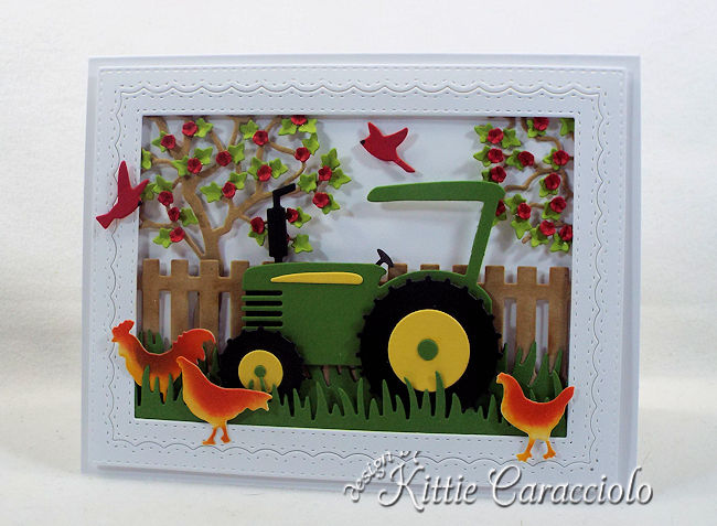 Come see how I made this die cut tractor scene.