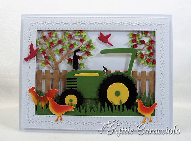 Come see how I made this fun die cut tractor scene.