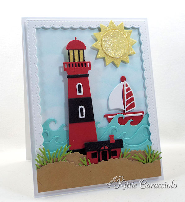 Come see how I made this fun lighthouse beach scene card.