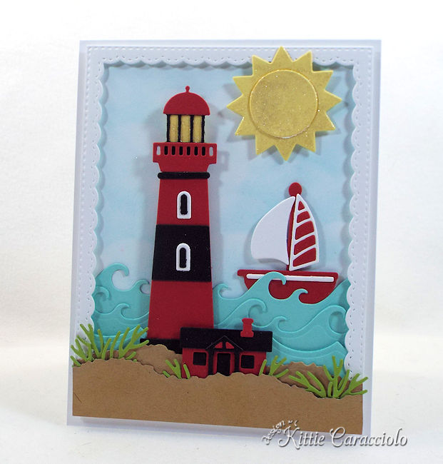 Come see how I made this lighthouse beach scene card.