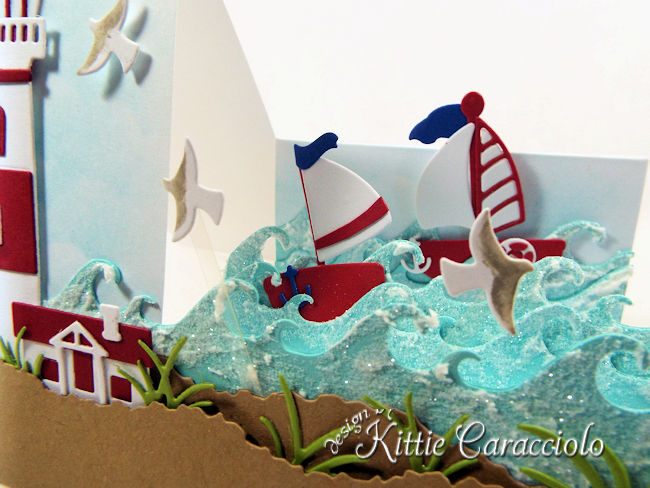 Come see how I made this pretty die cut lighthouse step card.
