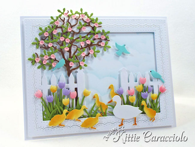 Come see how I made this pretty die cut spring duck scene.