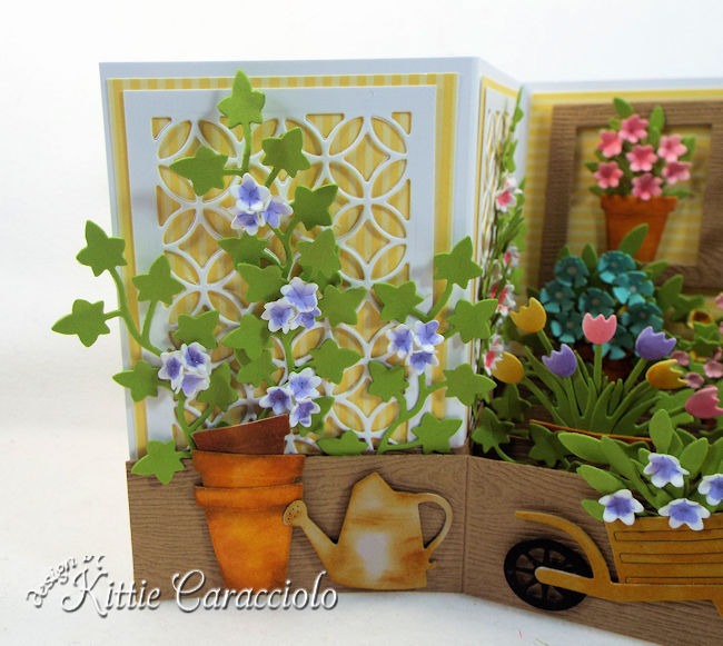 Come see how I made this spring die cut flower z fold card.