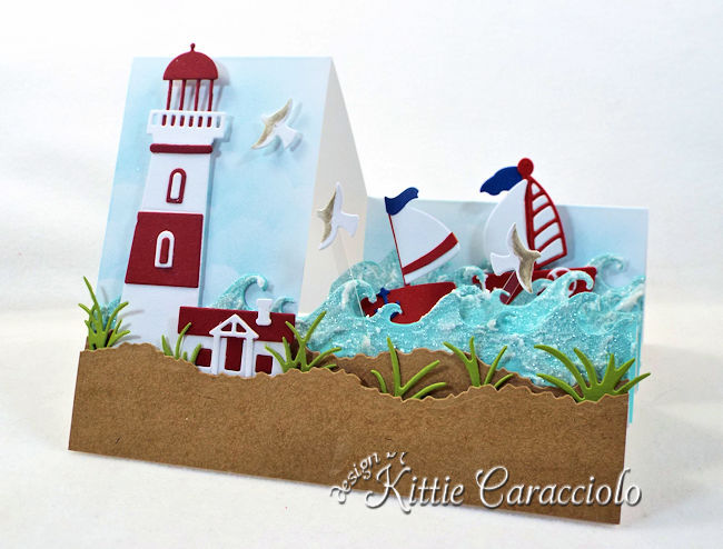 Come see how I made this sunny die cut lighthouse step card.