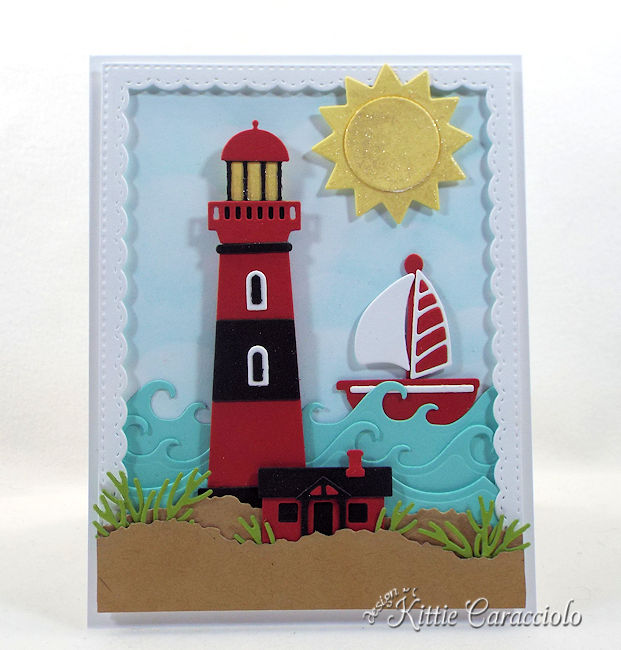 Come see how I made this sunny lighthouse beach scene card.