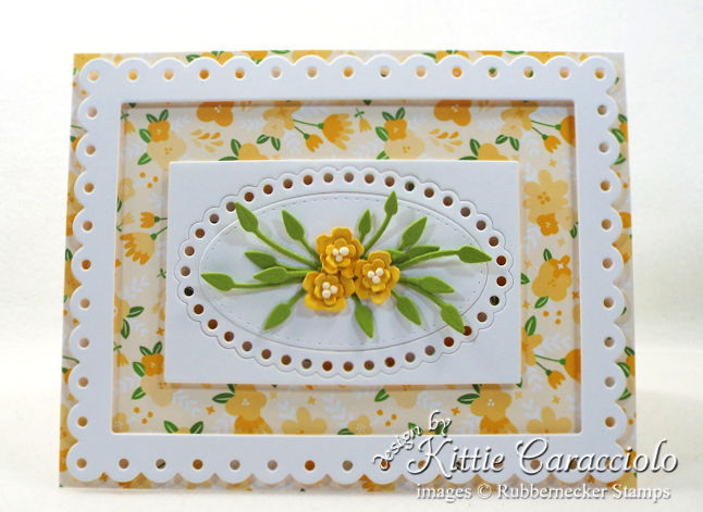 Come see how I made this bright die cut tiny flowers and frame card.