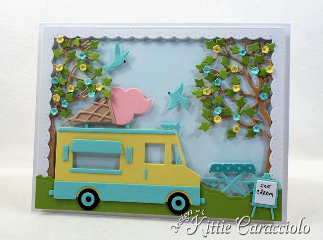 Come see how I made this colorful die cut ice cream truck