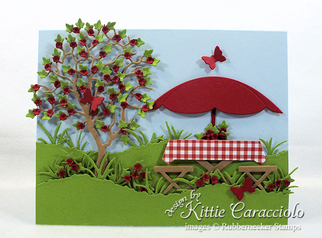 Come see how I made this colorful die cut picnic scene card.