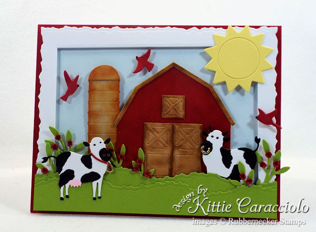 Come see how I made this die cut farm animals scene card.