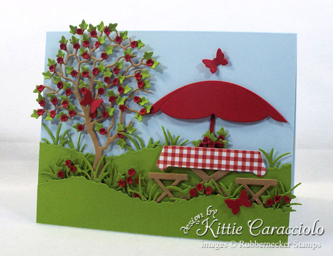 Come see how I made this die cut picnic scene card.