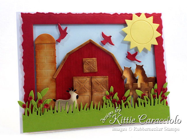 Come see how I made this fun die cut farm animals scene card.