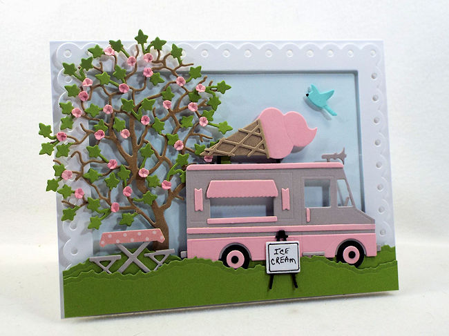 Come see how I made this fun die cut ice cream truck