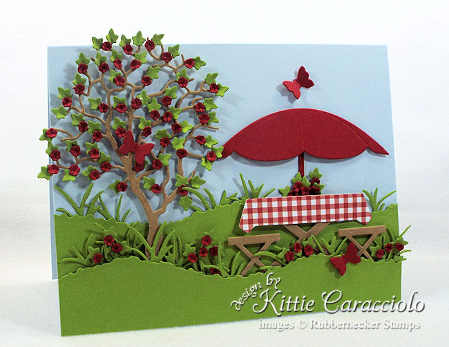 Come see how I made this summer die cut picnic scene card.