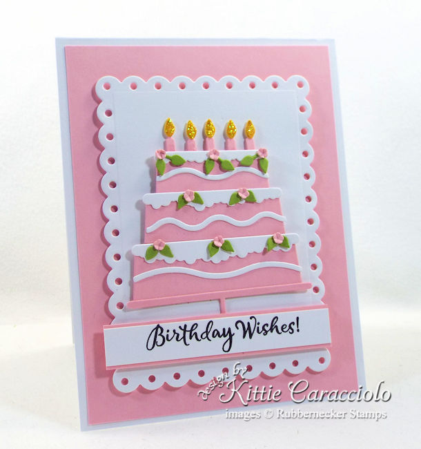 Come see how I mde this die cut birthday cake using Rubberneckers dies.