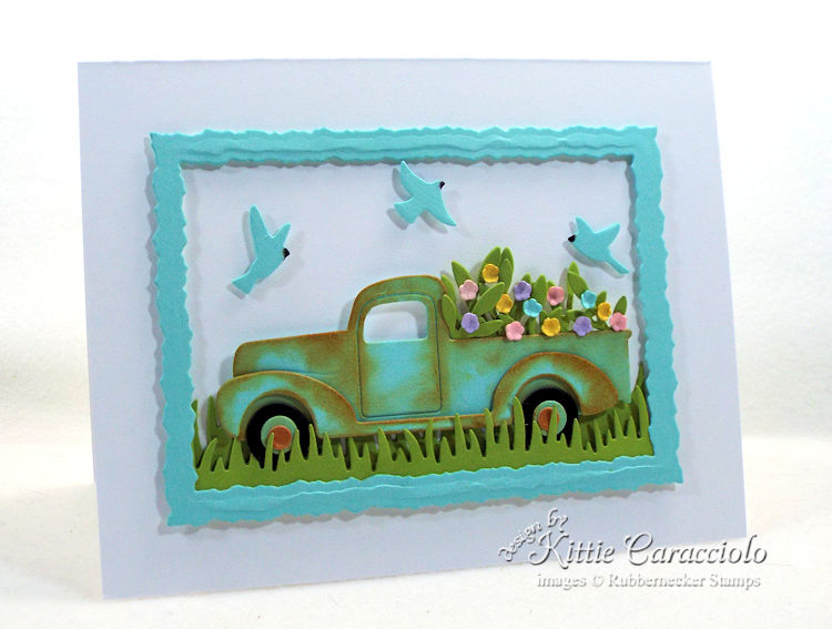Come see my clean and simple framed die cut truck scene.