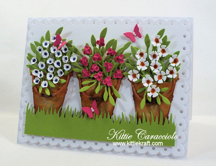 Come see how I made this bucket of flowers card using Rubbernecker dies.