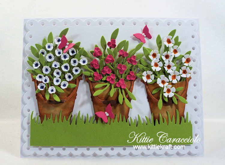 Come see how I made this colorful bucket of flowers card using Rubbernecker dies.
