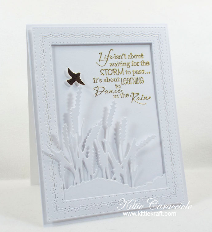 Come see how I made this fpretty dance in the rain sentiment card enhanced with sea grass.