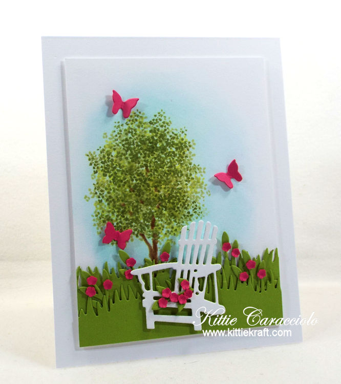 Come see how I made this lovely adirondack chair and flowers card