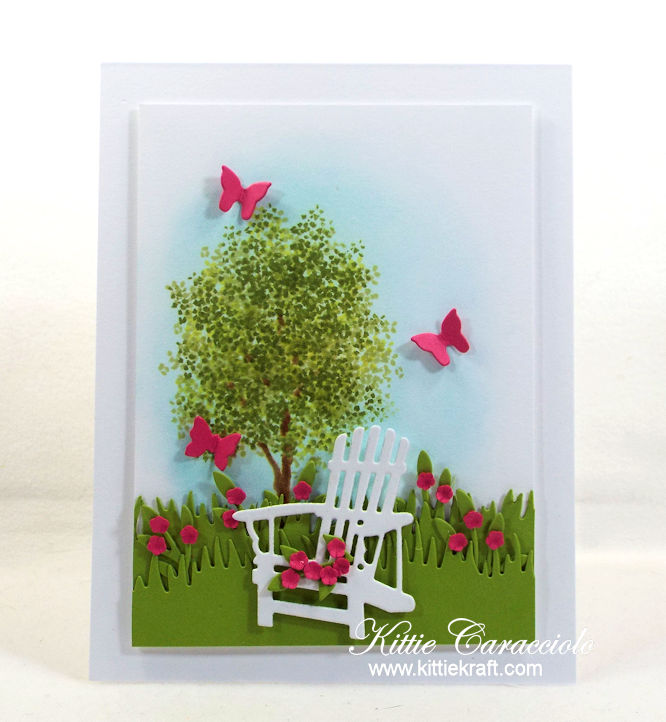 Come see how I made this pretty adirondack chair and flowers card