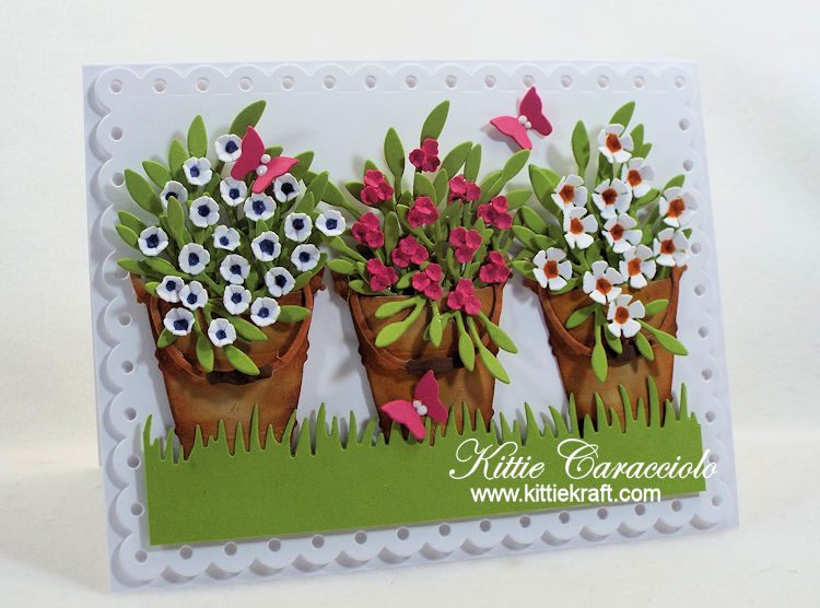 Come see how I made this pretty bucket of flowers card using Rubbernecker dies.