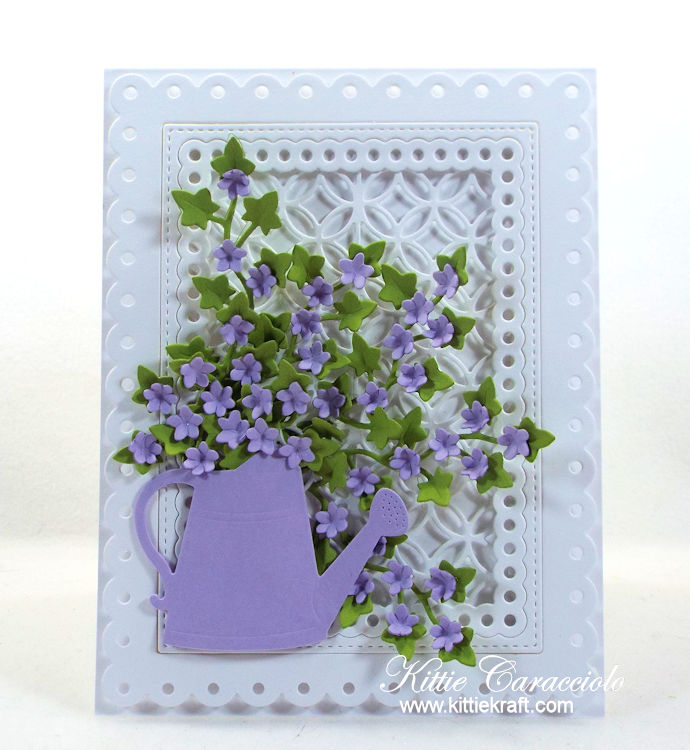 Come see how I made this pretty floral watering can and framed lattice.