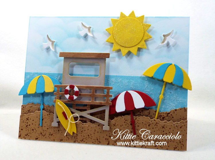 Come see how I made this umbrella beach scene card with die cuts.