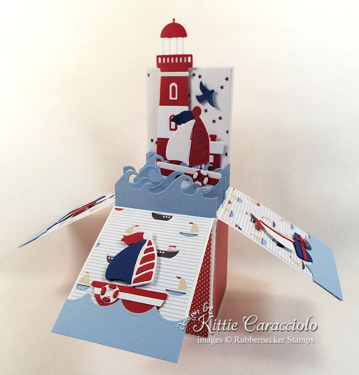 Come over to my blog to see how I made nautical this lighthouse pop up box card.