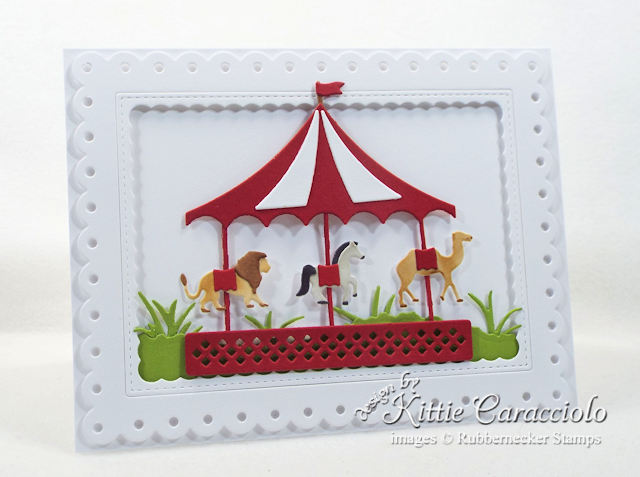 Come see how I made this colorful die cut carousel card.