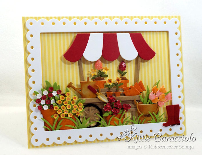 Come see how I made this colorful die cut flower cart card.