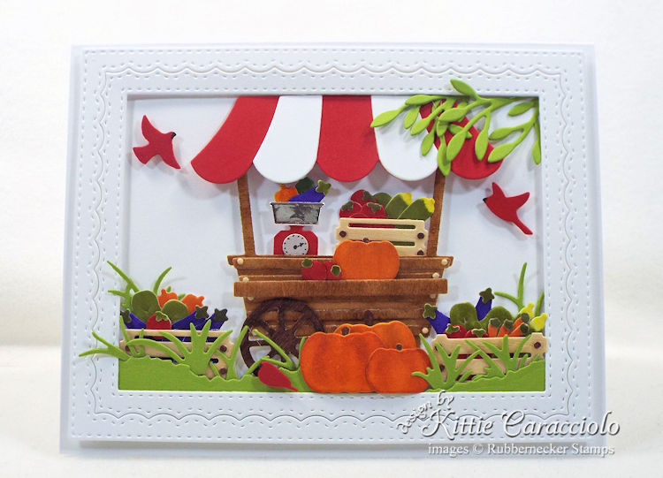 Come see how I made this colorful garden cart card with vegetables.