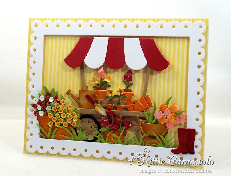 Come see how I made this die cut flower cart card.
