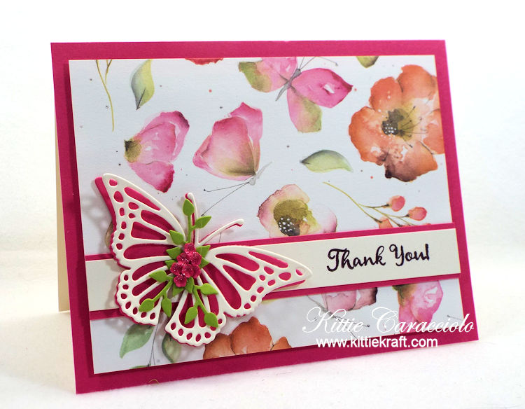 Come see how I made this elegant clean and simple butterfly and watercolor flowers card.