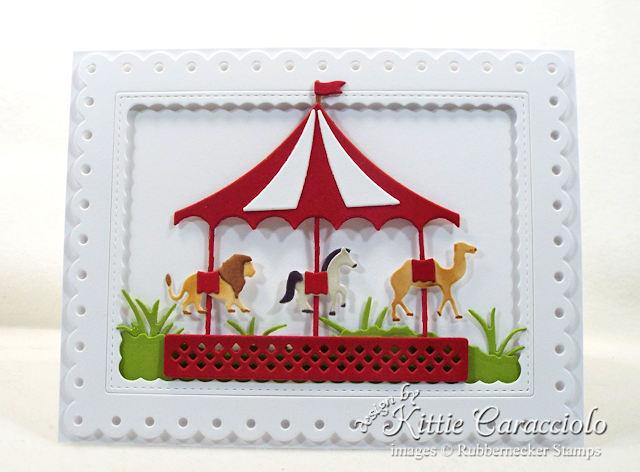 Come see how I made this fun die cut carousel card.