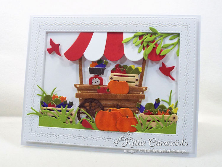 Come see how I made this garden cart card with vegetables.
