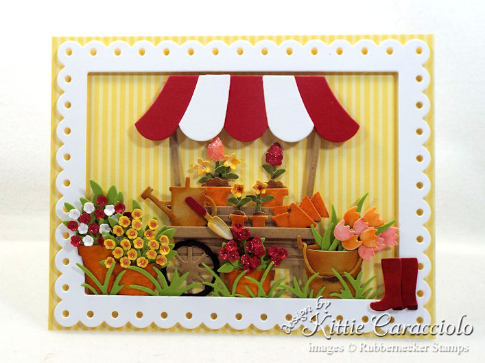 Come see how I made this pretty die cut flower cart card.