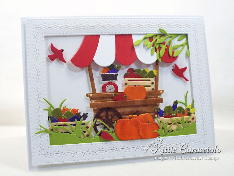 Come see how I made this pretty garden cart card with vegetables.